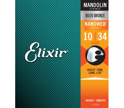 11500 NANOWEB Комплект струн для мандолины, Light, 10-34, Elixir