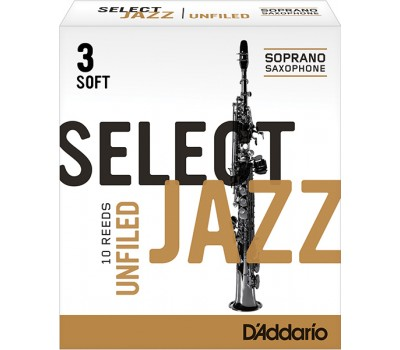 RRS10SSX3S Select Jazz Unfiled Трости для саксофона сопрано, размер 3 мягкие (Soft), 10шт, Rico
