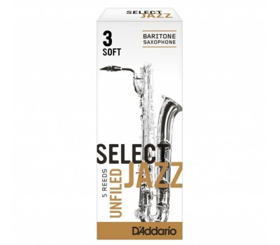 RRS05BSX3S Select Jazz Unfiled Трости для саксофона баритон, размер 3, мягкие (Soft), 5шт, Rico