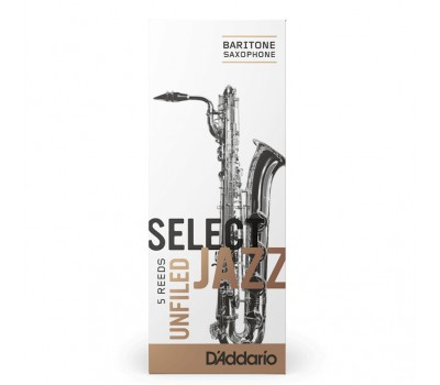 RRS05BSX2S Select Jazz Unfiled Трости для саксофона баритон, размер 2, мягкие (Soft), 5шт, Rico