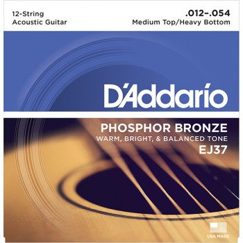 EJ37 Phosphor Bronze Комплект струн для 12-струнной гитары, ф/бр, M.Top/H.Bottom, 12-54, D'Addario