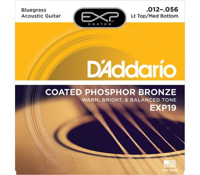 EXP19 Coated Phosphor Bronze Струны для акуст. гитары, L. Top/M. Bottom/Bluegrass, 12-56, D'Addario