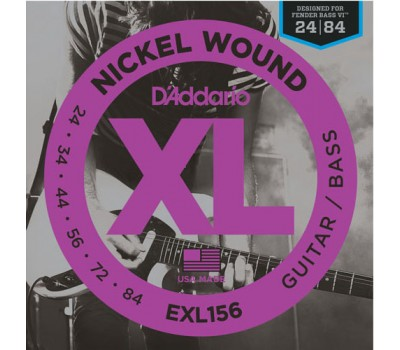 EXL156 Nickel Wound Fender Bass VI Комплект струн для эл.гитары/6-стр. бас-гитары, 24-84, D'Addario