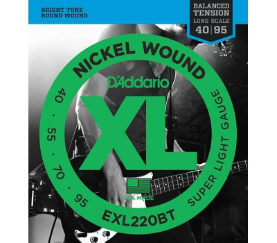 EXL220BT Nickel Wound Комплект струн для бас-гитары, Super Light, 40-95, D'Addario
