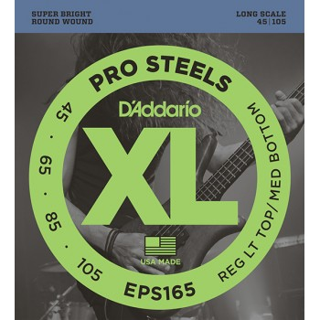 EPS165 ProSteels Комплект струн для бас-гитары, Custom Light, 45-105, Long Scale, D'Addario