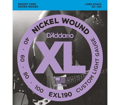 EXL190 XL NICKEL WOUND Струны для бас-гитары Long Custom Light 40-100 D`Addario