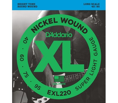 EXL220 XL NICKEL WOUND Струны для бас-гитары Long Super Light 40-95 D`Addario