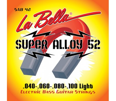SAB42 Super Alloy 52 Комплект струн для бас-гитары, железо/никель, 42-100, Light, La Bella