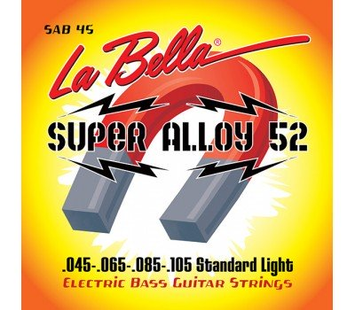 SAB45 Super Alloy 52 Комплект струн для бас-гитары, железо/никель, 45-105, Standart Light, La Bella