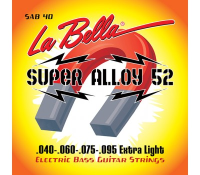 SAB40 Super Alloy 52 Комплект струн для бас-гитары, железо/никель, 40-95, Extra Light, La Bella