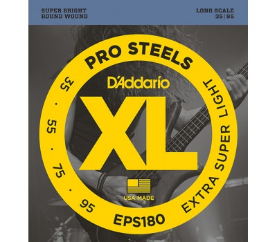 EPS180 ProSteels Комплект струн для бас-гитары, Extra Super Light, 35-95, D'Addario