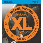 EXL160 XL NICKEL WOUND Струны для бас-гитары Long Medium 50-105 D`Addario