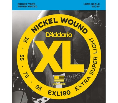 EXL180 Nickel Wound Комплект струн для бас-гитары, Extra Super Light, 35-95, D'Addario