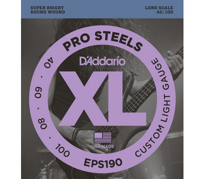 EPS190 ProSteels Комплект струн для бас-гитары, Custom Light, 40-100, D'Addario