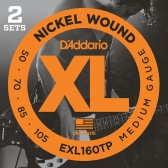 EXL160TP Nickel Wound Струны для бас-гитары, Medium, 50-105, 2 комплекта, Long Scale, D'Addario