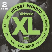 EXL165TP Nickel Wound Струны для бас-гитары, Custom Light, 45-105, 2 комплекта, Long, D'Addario