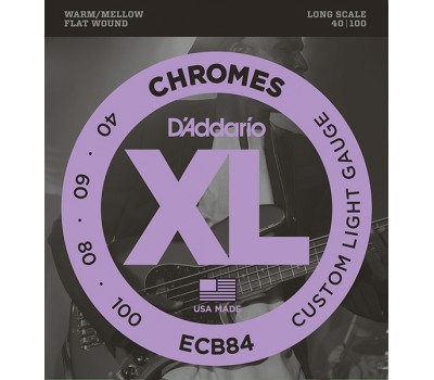 ECB84 Chromes Bass Комплект струн для бас-гитары, Custom Light, 40-100, D'Addario