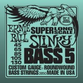 P02850 Super Long Scale Slinky 5 Комплект струн для 5-струнной бас-гитары, 45-130, сталь, Ernie Ball