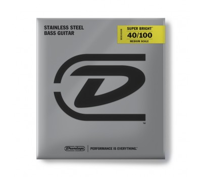 DBSBS40100M Super Bright Комплект струн для бас-гитары, нерж.сталь, Medium Scale, 40-100, Dunlop