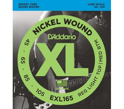 EXL165 XL NICKEL WOUND Струны для бас-гитары Long Regular Ligth Top Medium Bottom 45-105 D`Addario
