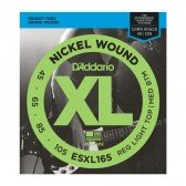 ESXL165 Nickel Wound Комплект струн для бас-гитары, Med, 45-105, шарик на 2 конц, Long Sc, D'Addario