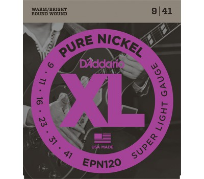 EPN120 XL Pure Nickel Комплект струн для электрогитары, никель, Super Light 9-41, D'Addario