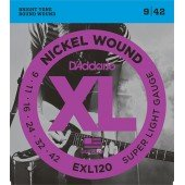 EXL120 XL NICKEL WOUND Струны для электрогитары Super Light 9-42 D`Addario