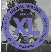 EXL115-3D Nickel Wound Струны для электрогитары, Medium/Blues-Jazz Rock, 11-49, 3 компл., D'Addario