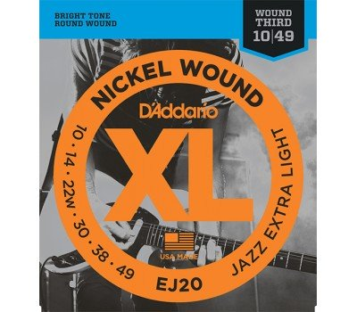 EJ20 XL NICKEL WOUND Струны для электрогитары Jazz Extra-Light 10-49 D`Addario