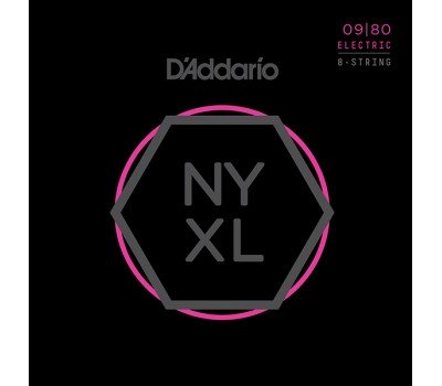 NYXL0980 NYXL Комплект струн для 8-струнной электрогитары, Super Light, 09-80, D'Addario