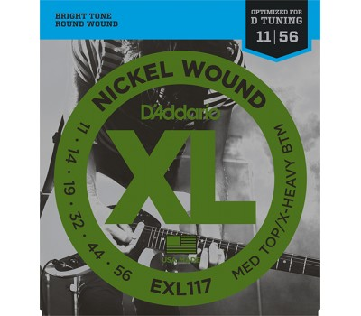 EXL117 XL NICKEL WOUND Струны для электрогитары Meduim Top/Extra Heavy Bottom 11-56 D`Addario