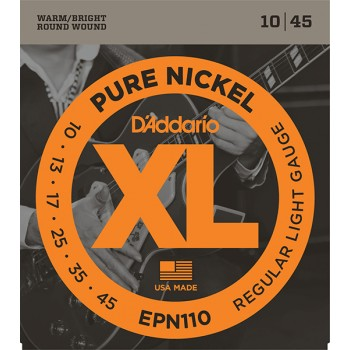 EPN110 XL Pure Nickel Комплект струн для электрогитары, никель, Regular Light 10-45, D'Addario