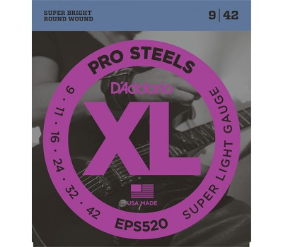 EPS520 XL PRO STEEL Струны для электрогитары Super Light 9-42 D`Addario