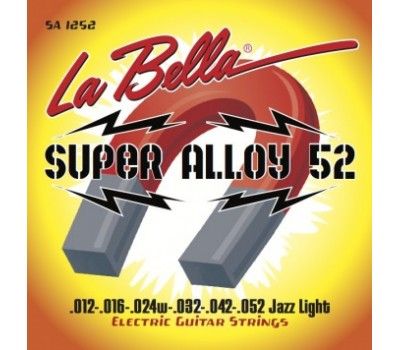 SA1252 Super Alloy 52 Комплект струн для электрогитары, железо/никель, Jazz Light, 12-52, La Bella
