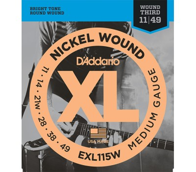 EXL115W XL NICKEL WOUND Струны для электрогитары Blues/Jazz Rock 3rd Wound 11-49 D`Addario
