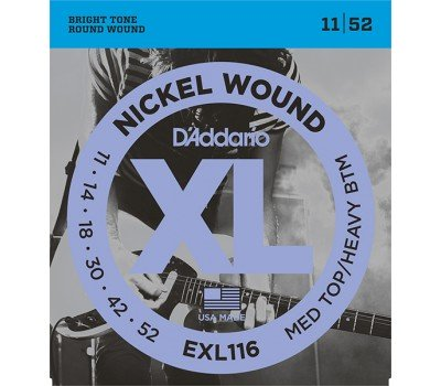 EXL116 XL NICKEL WOUND Струны для электрогитары Meduim Top/Heavy Bottom 11-52 D`Addario