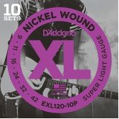 EXL120-10P Nickel Wound Струны для электрогитары, Super Light, 9-42, 10 комплектов, D'Addario