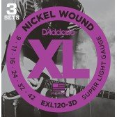 EXL120-3D Nickel Wound Струны для электрогитары, Super Light, 9-42, 3 комплекта, D'Addario