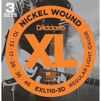 EXL110-3D Nickel Wound Струны для электрогитары, Regular Light, 10-46, 3 комплекта, D'Addario