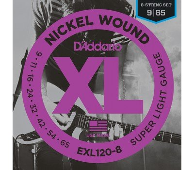 EXL120-8 Nickel Wound Комплект струн для 8-струнной электрогитары, Super Light, 9-65, D'Addario