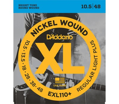 EXL110+ Nickel Wound Комплект струн для электрогитары, Regular Light Plus, 10.5-48, D'Addario