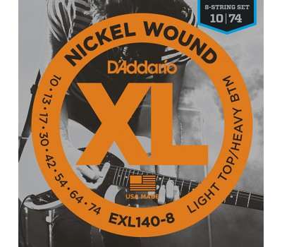 EXL140-8 Nickel Wound Комплект струн для 8-струнной электрогитары, Light/Heavy, 10-74, D'Addario