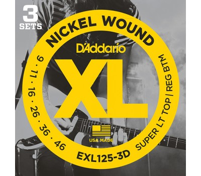 EXL125-3D Nickel Wound Струны для электрогитары, SuperLightTop/Regular Bottom 9-46, 3компл D'Addario