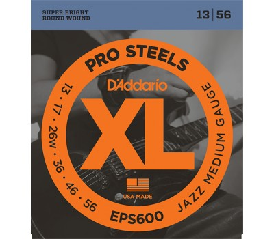 EPS600 XL PRO STEEL Струны для электрогитары Jazz Medium 13-56 D`Addario
