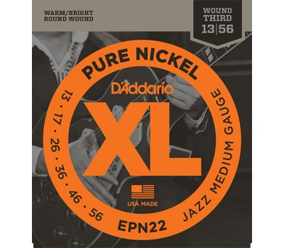 EPN22 XL PURE NICKEL Струны для электрогитары чистый никель Jazz Medium 13-55 D`Addario