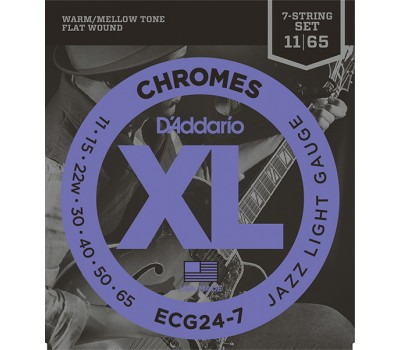 ECG24-7 Chromes Flat Wound Комплект струн для 7-струнной электрогитары, Jazz Light, 11-65, D'Addario