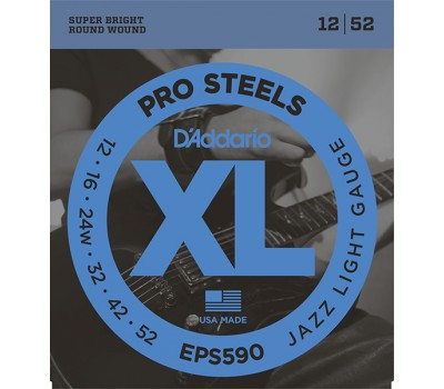 EPS590 XL PRO STEEL Струны для электрогитары Jazz Light 12-52 D`Addario