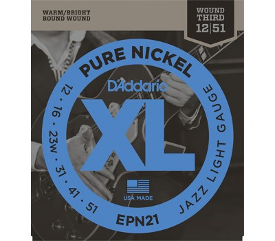 EPN21 XL Pure Nickel Комплект струн для электрогитары, никель, Jazz Light, 12-51, D'Addario