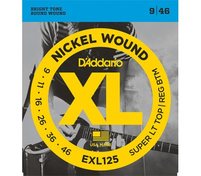 EXL125 XL NICKEL WOUND Струны для электрогитары Super Light Top/Regular Bottom 9-46 D`Addario