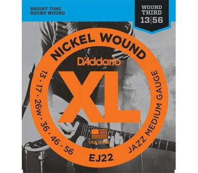 EJ22 XL NICKEL WOUND Струны для электрогитары Jazz Medium 13-56 D`Addario